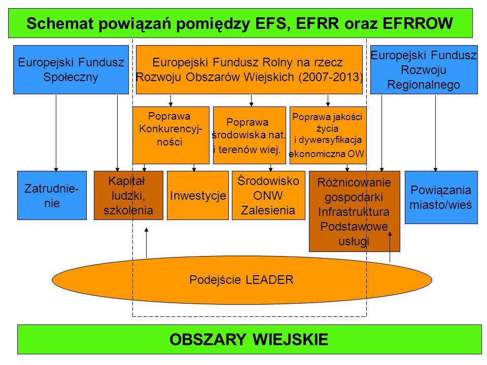 Schemat powiązań pomiędzy EFS, EFRR oraz EFRROW