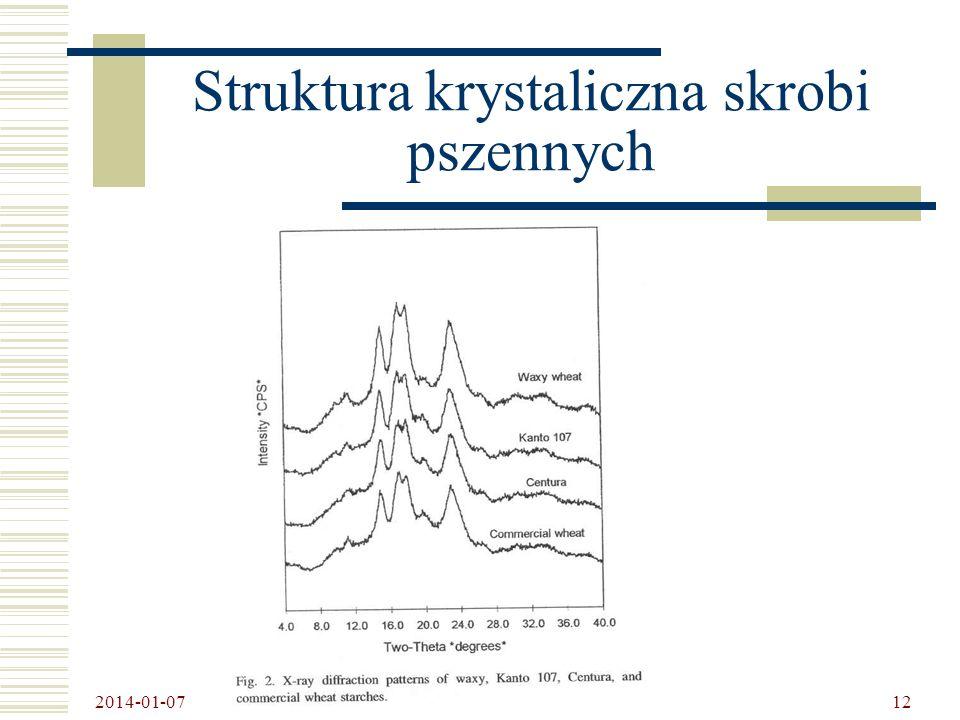 Struktura krystaliczna skrobi pszennych