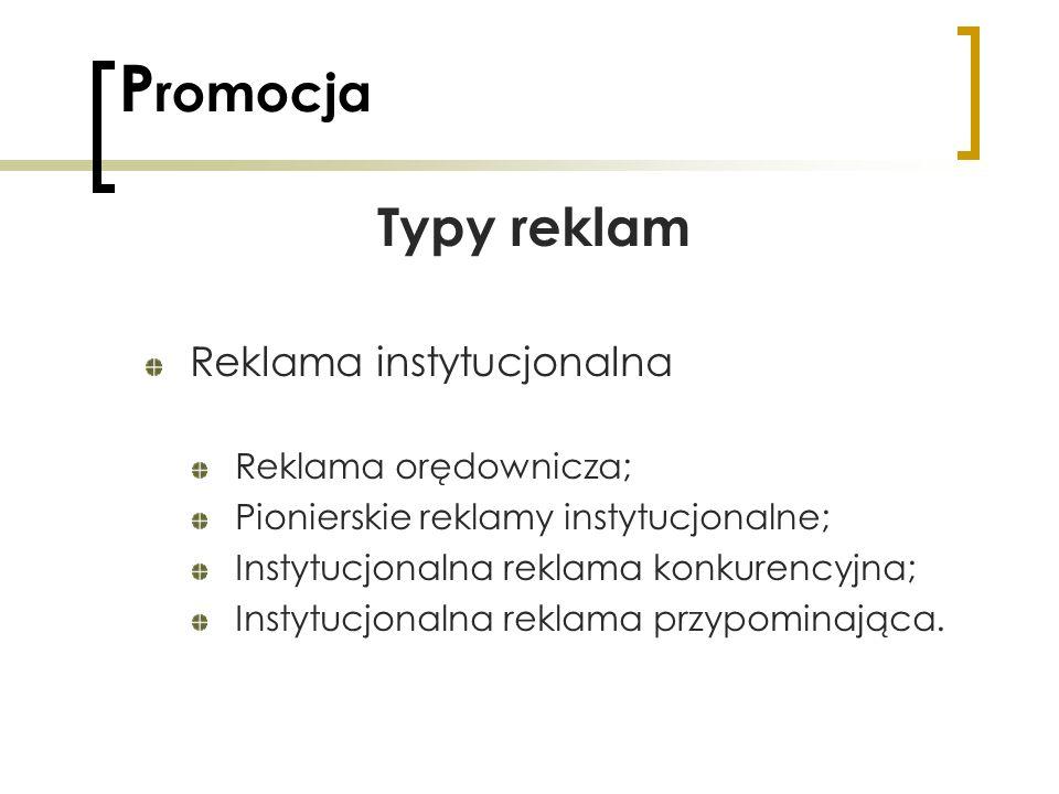 Promocja Typy reklam Reklama instytucjonalna Reklama orędownicza;