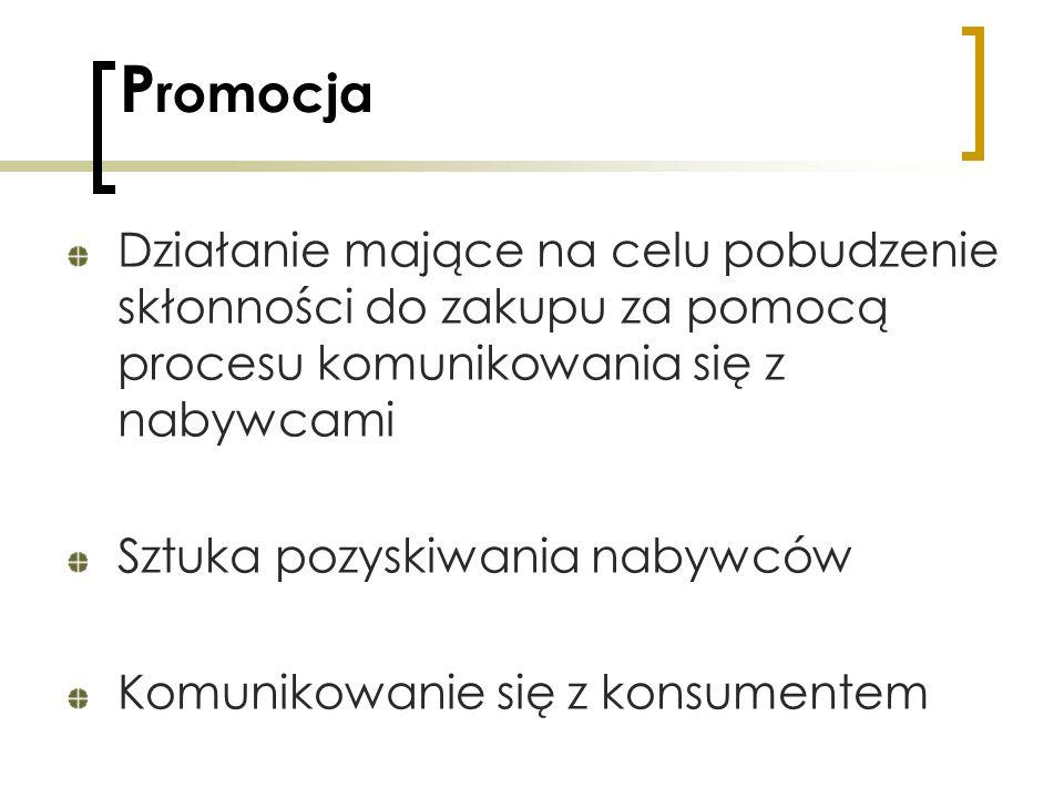 PromocjaDziałanie mające na celu pobudzenie skłonności do zakupu za pomocą procesu komunikowania się z nabywcami.