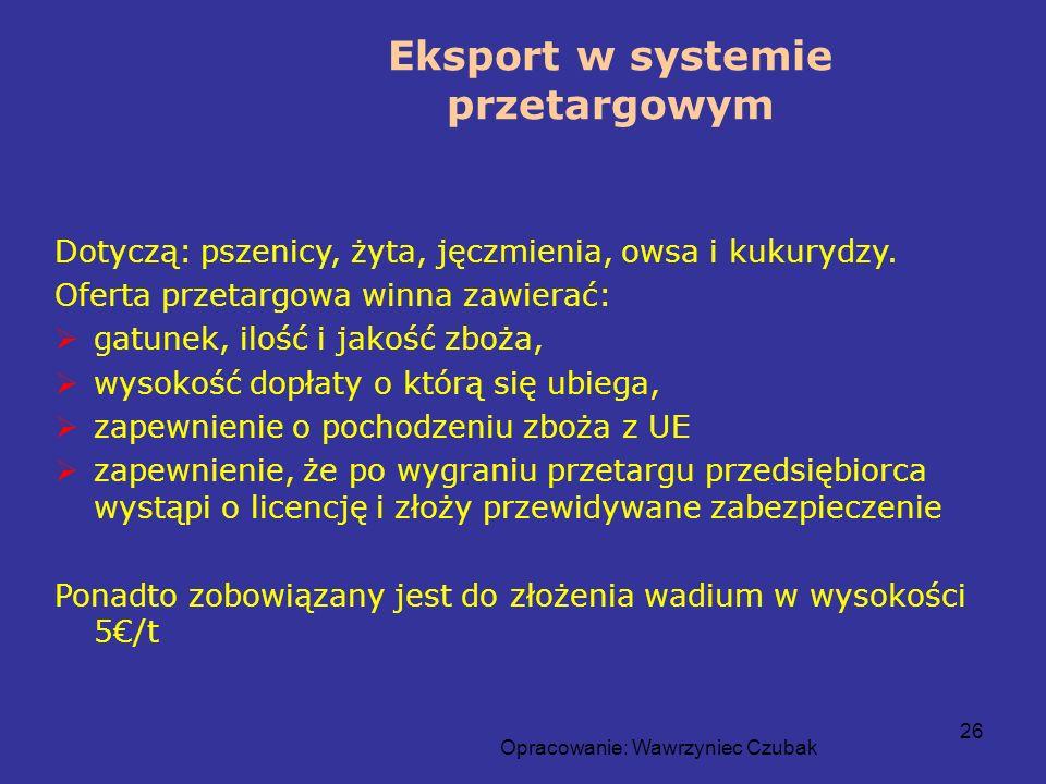 Eksport w systemie przetargowym