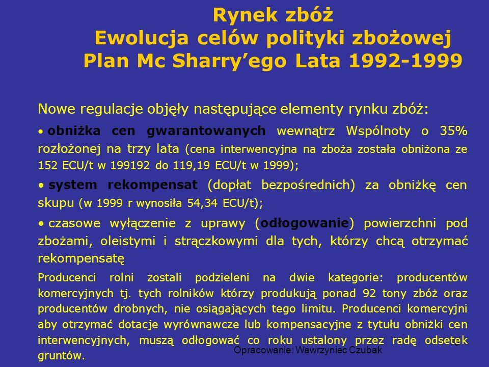 Ewolucja celów polityki zbożowej Plan Mc Sharry'ego Lata 1992-1999
