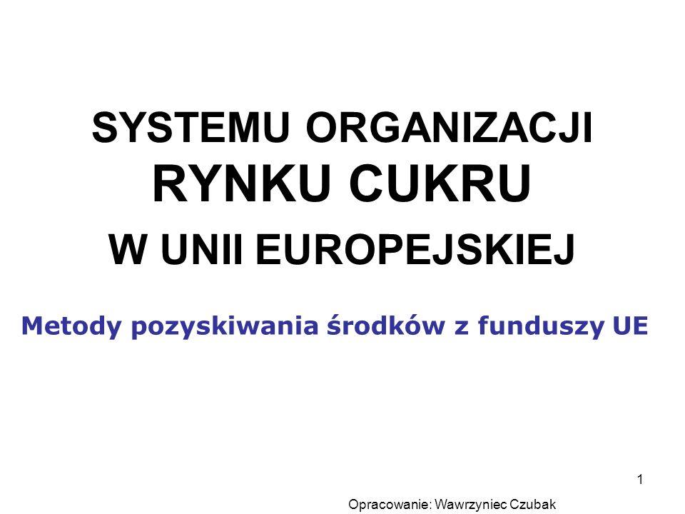 SYSTEMU ORGANIZACJI RYNKU CUKRU W UNII EUROPEJSKIEJ