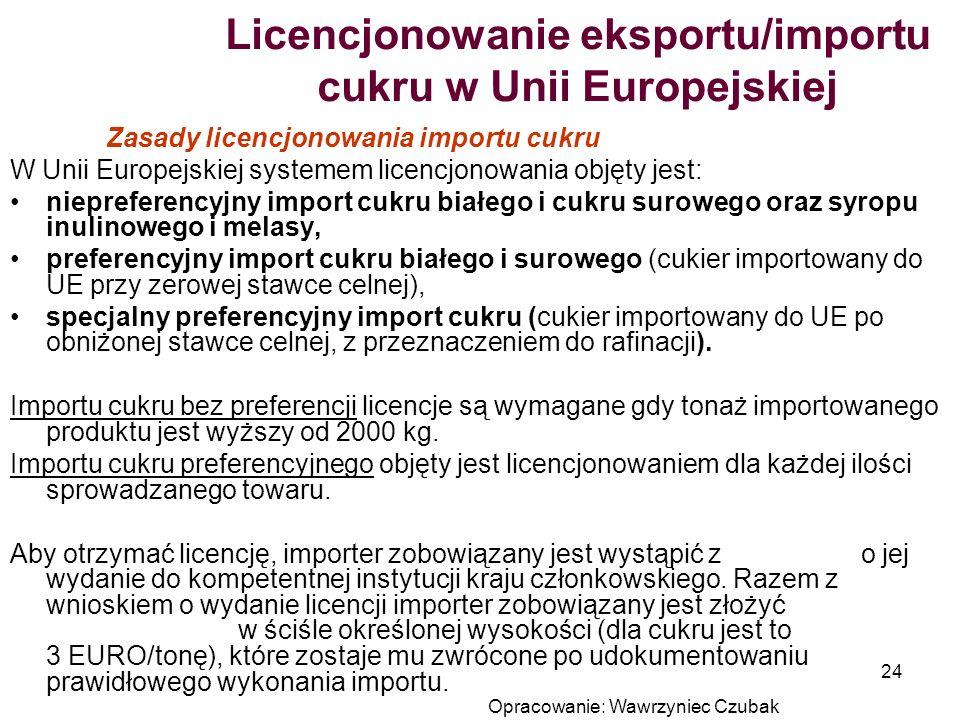 Licencjonowanie eksportu/importu cukru w Unii Europejskiej