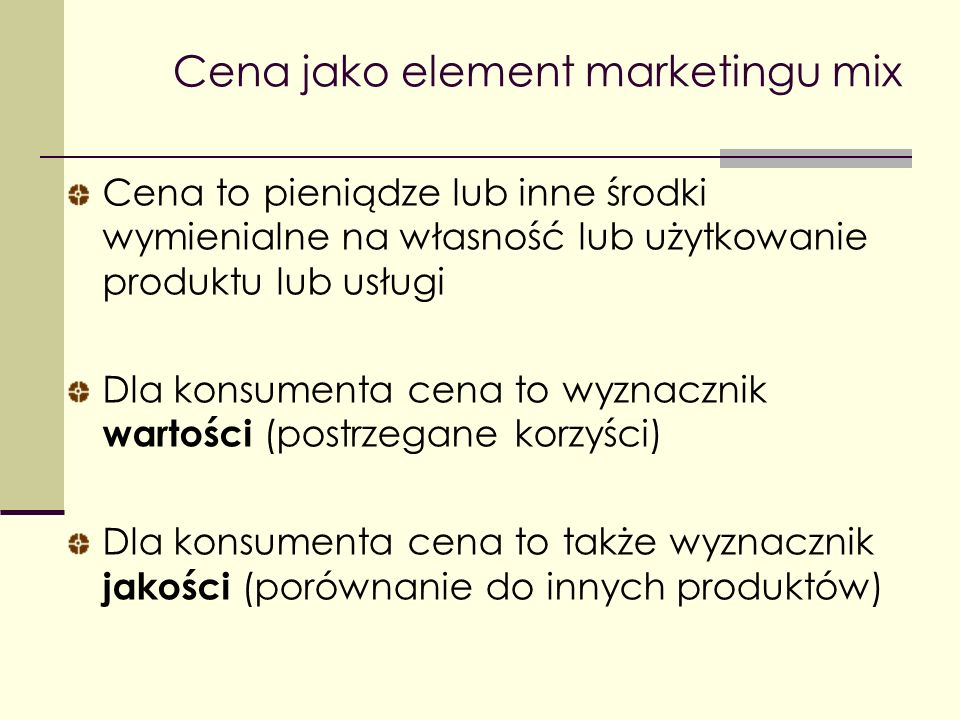 Cena jako element marketingu mix