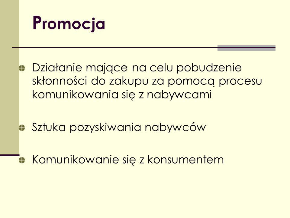 Promocja Działanie mające na celu pobudzenie skłonności do zakupu za pomocą procesu komunikowania się z nabywcami.