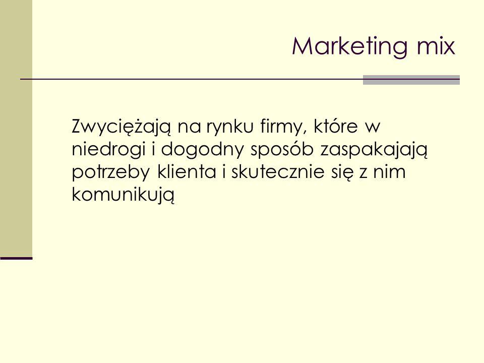 Marketing mix Zwyciężają na rynku firmy, które w niedrogi i dogodny sposób zaspakajają potrzeby klienta i skutecznie się z nim komunikują.