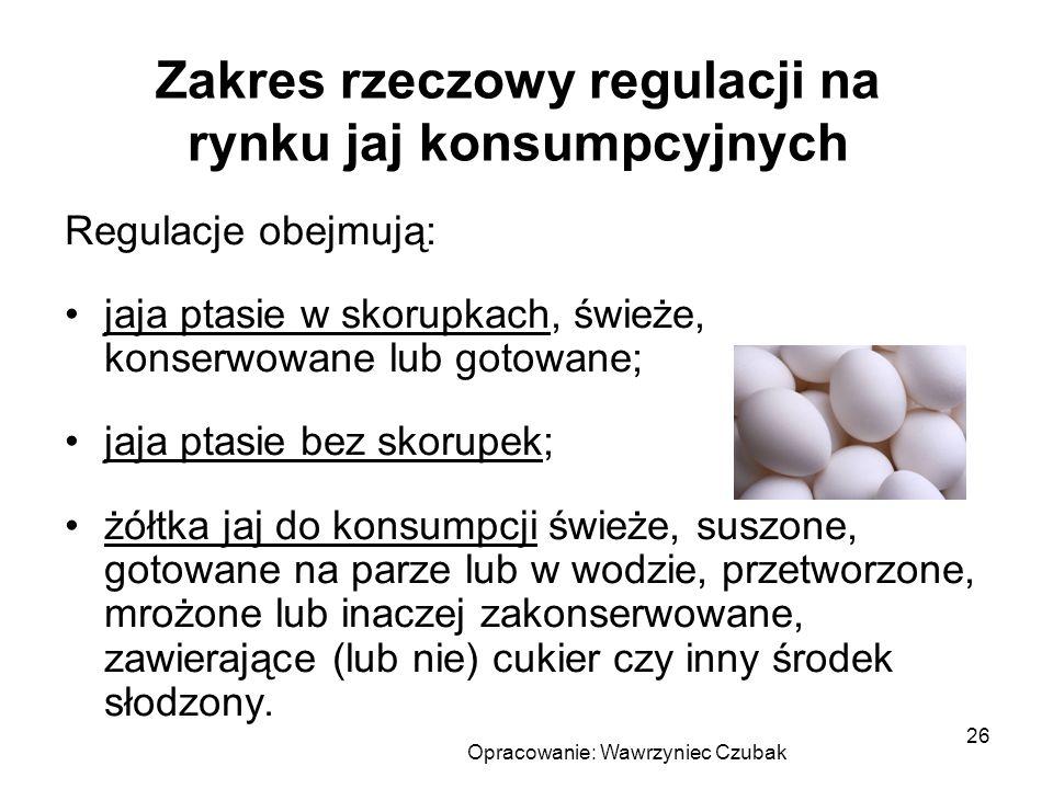 Zakres rzeczowy regulacji na rynku jaj konsumpcyjnych