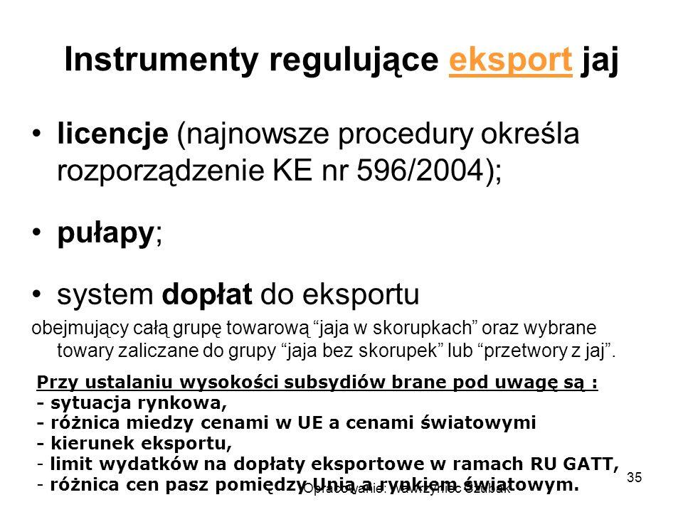 Instrumenty regulujące eksport jaj