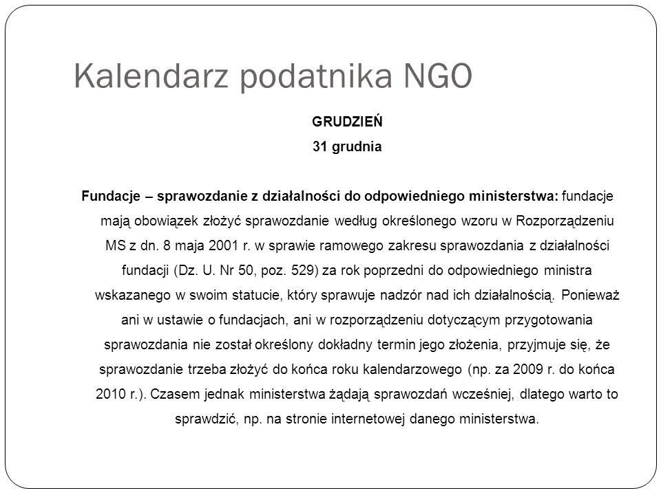 Kalendarz podatnika NGO