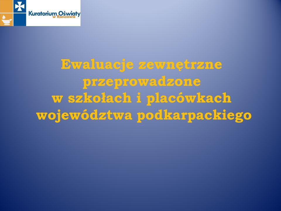 Ewaluacje zewnętrzne przeprowadzone w szkołach i placówkach województwa podkarpackiego