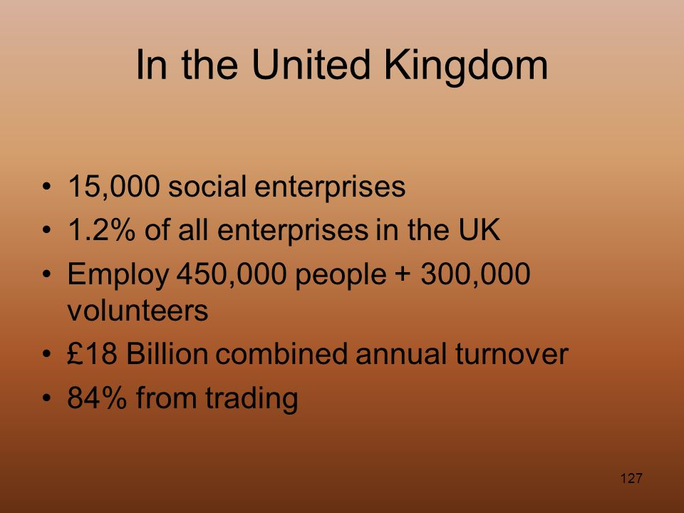 In the United Kingdom 15,000 social enterprises