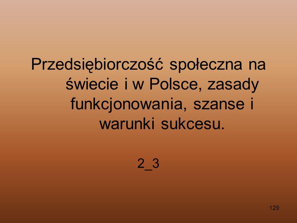 Przedsiębiorczość społeczna na świecie i w Polsce, zasady funkcjonowania, szanse i warunki sukcesu.