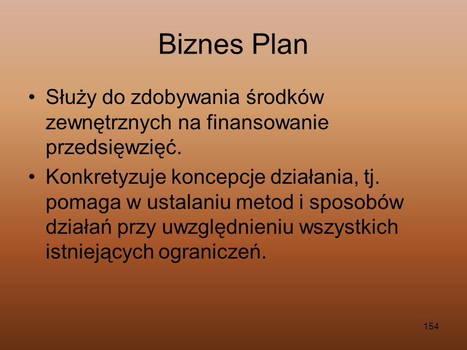 Biznes Plan Służy do zdobywania środków zewnętrznych na finansowanie przedsięwzięć.