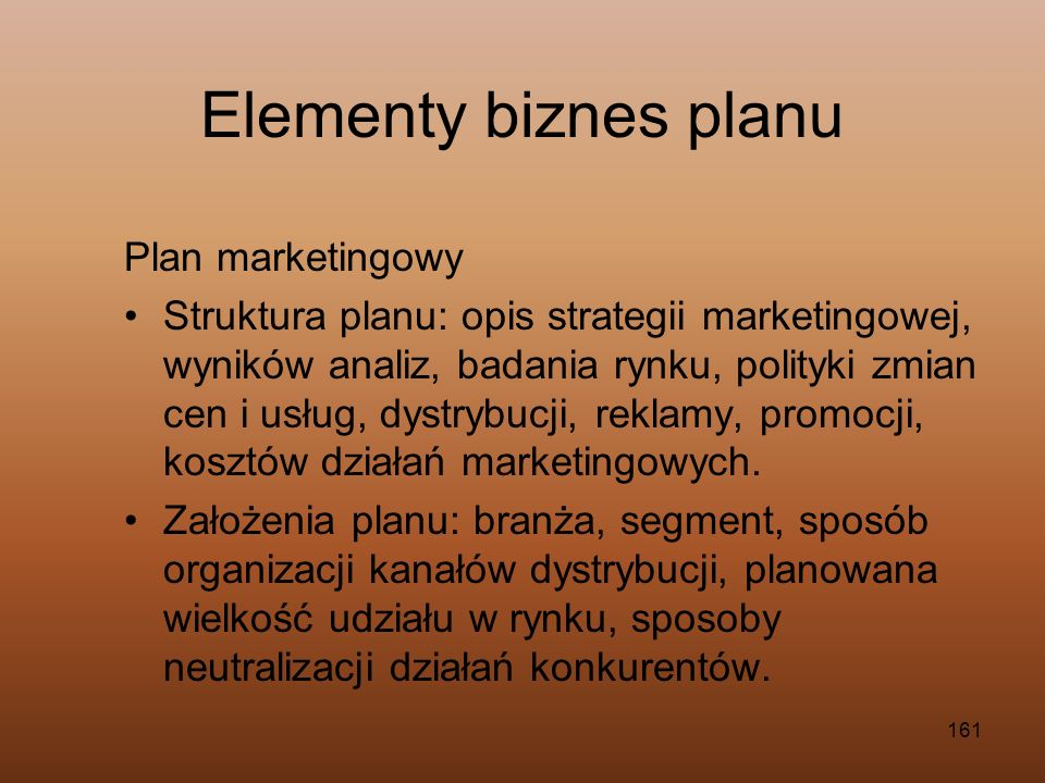 Elementy biznes planu Plan marketingowy