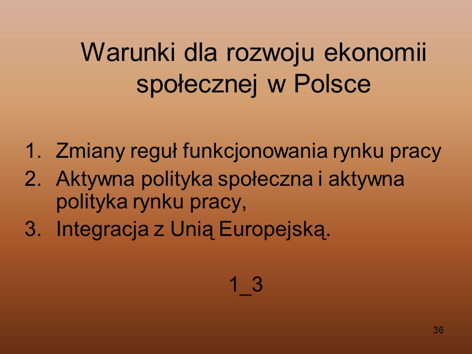Warunki dla rozwoju ekonomii społecznej w Polsce