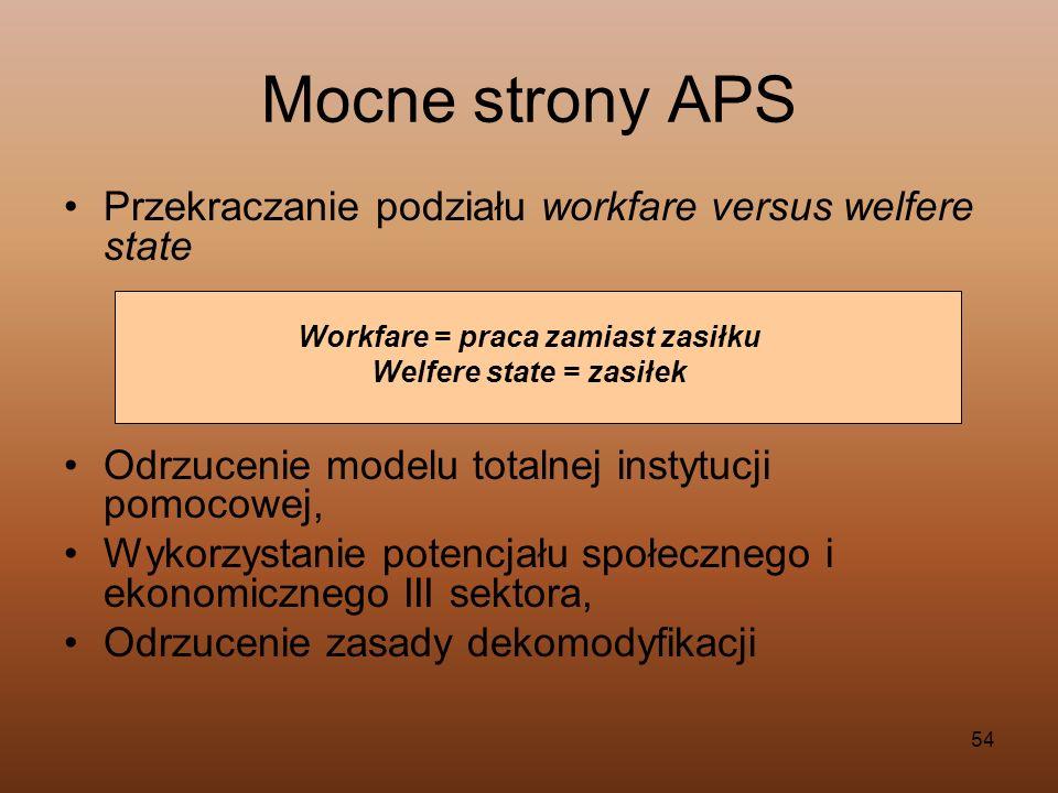 Workfare = praca zamiast zasiłku Welfere state = zasiłek