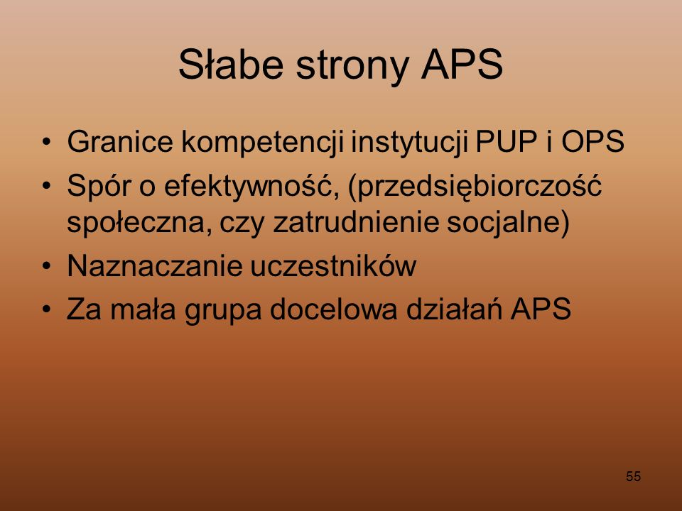 Słabe strony APS Granice kompetencji instytucji PUP i OPS