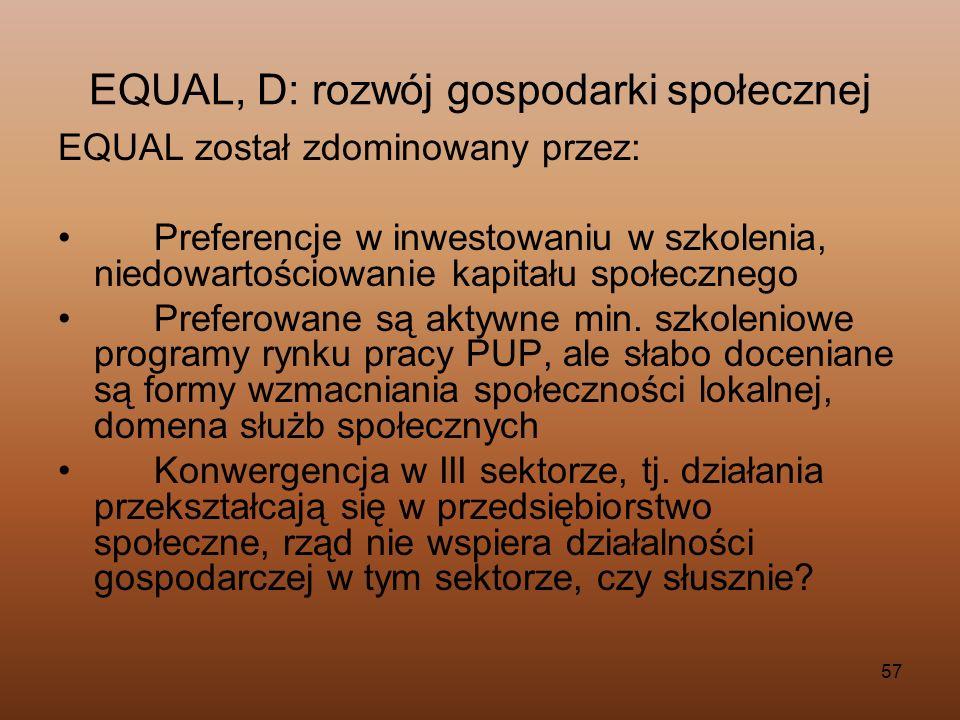 EQUAL, D: rozwój gospodarki społecznej