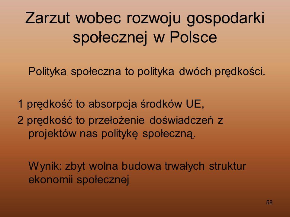 Zarzut wobec rozwoju gospodarki społecznej w Polsce
