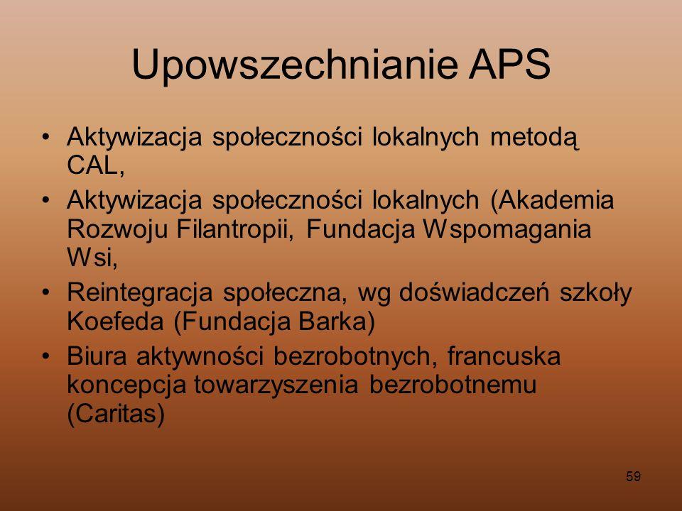 Upowszechnianie APS Aktywizacja społeczności lokalnych metodą CAL,