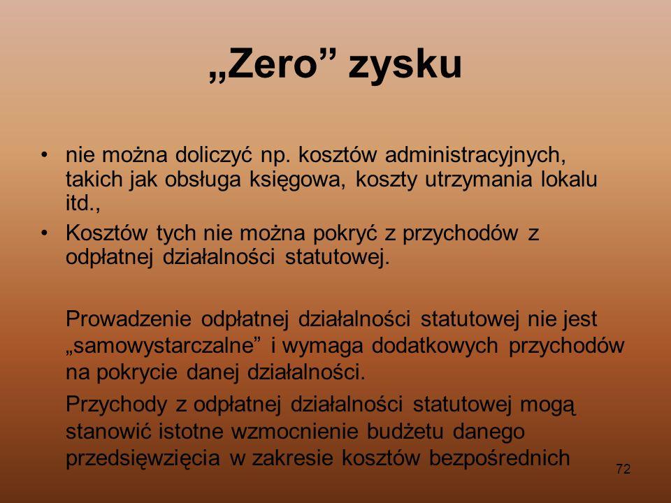 """""""Zero zyskunie można doliczyć np. kosztów administracyjnych, takich jak obsługa księgowa, koszty utrzymania lokalu itd.,"""