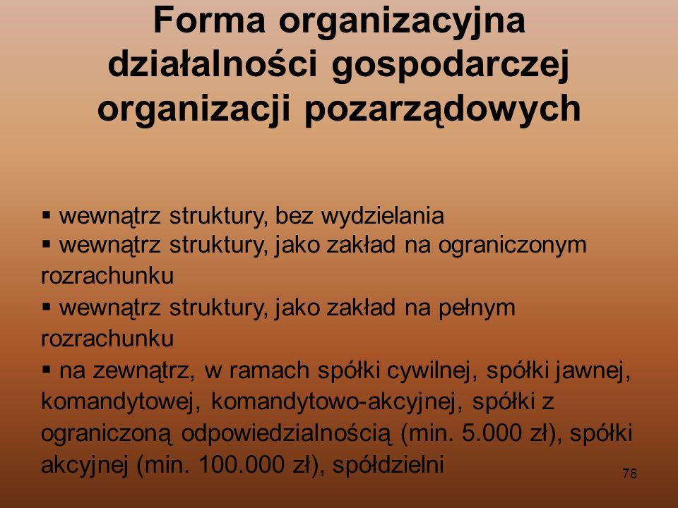 Forma organizacyjna działalności gospodarczej organizacji pozarządowych