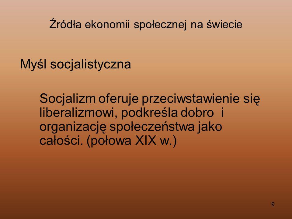 Źródła ekonomii społecznej na świecie