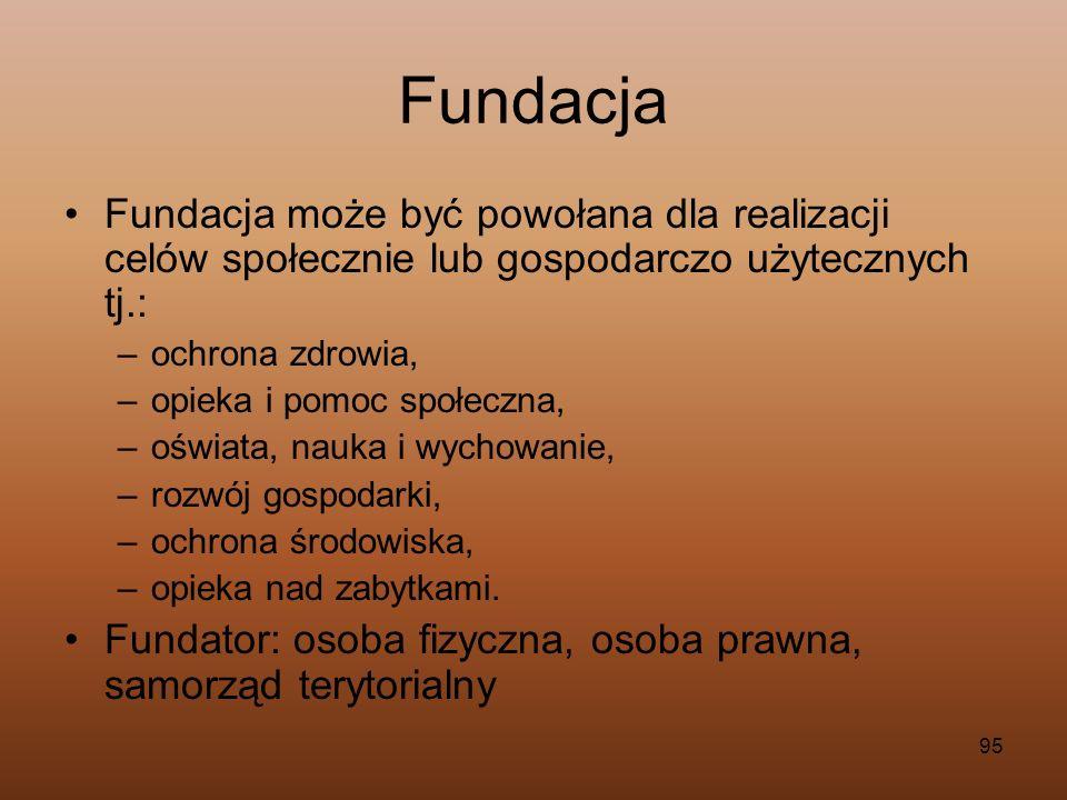 FundacjaFundacja może być powołana dla realizacji celów społecznie lub gospodarczo użytecznych tj.: