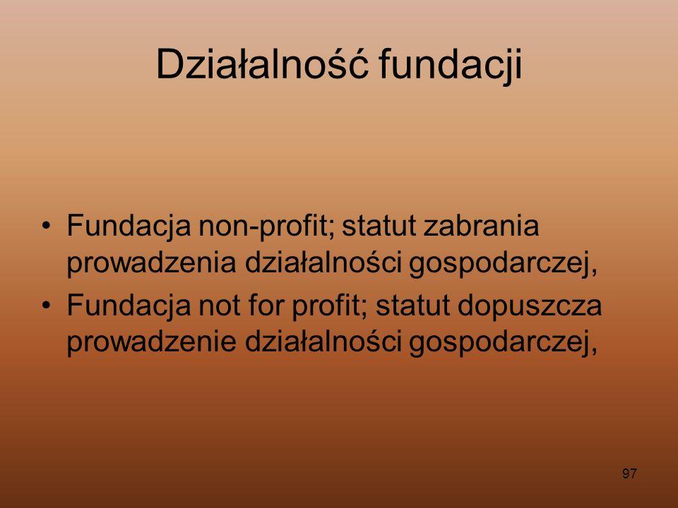 Działalność fundacji Fundacja non-profit; statut zabrania prowadzenia działalności gospodarczej,