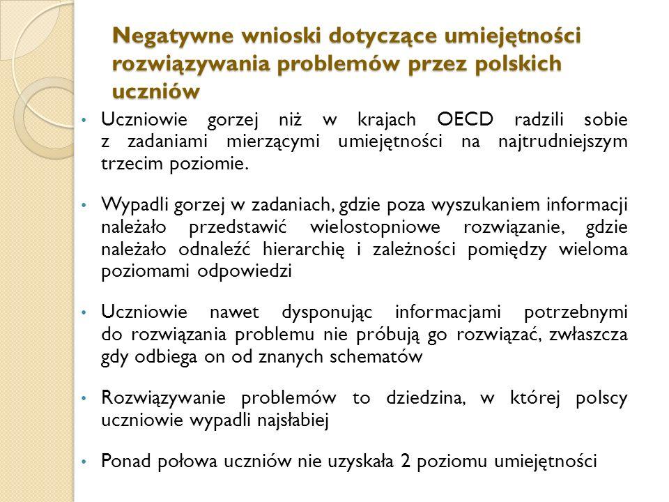 Negatywne wnioski dotyczące umiejętności rozwiązywania problemów przez polskich uczniów