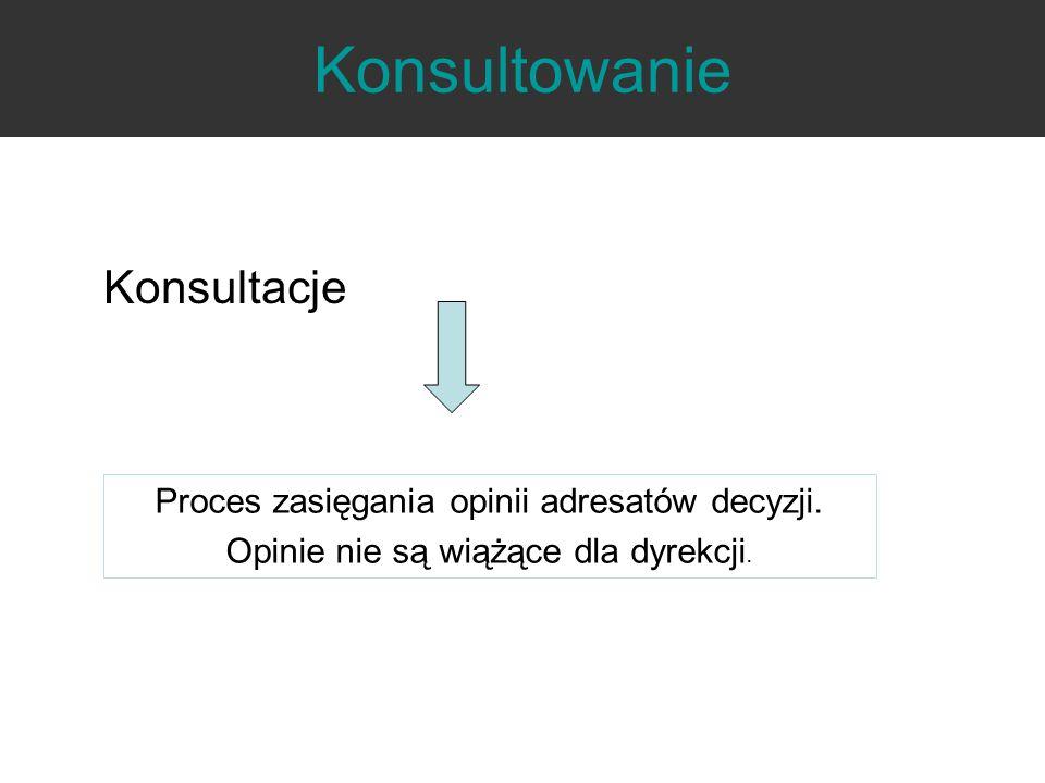 Konsultowanie Konsultacje Proces zasięgania opinii adresatów decyzji.