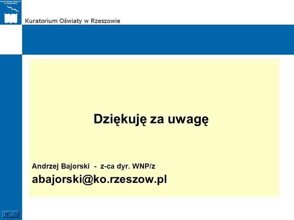 Dziękuję za uwagę abajorski@ko.rzeszow.pl