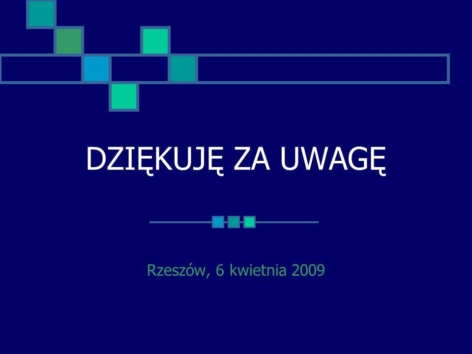 DZIĘKUJĘ ZA UWAGĘ Rzeszów, 6 kwietnia 2009
