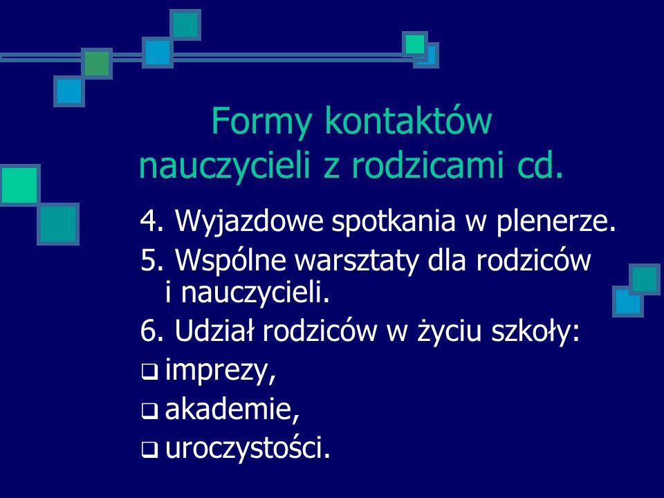 Formy kontaktów nauczycieli z rodzicami cd.