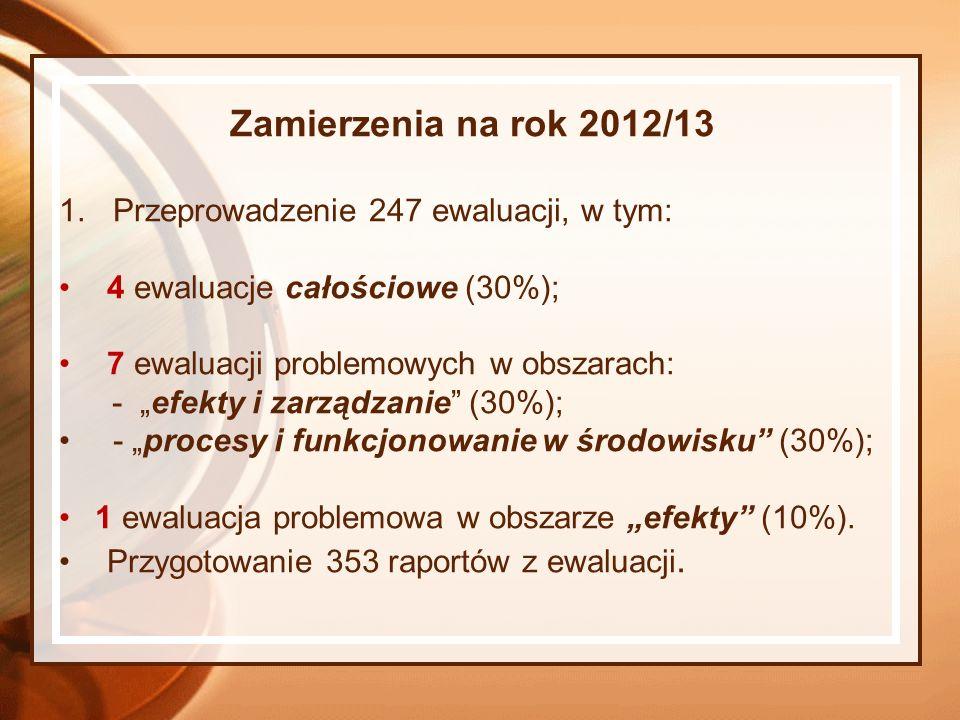 Zamierzenia na rok 2012/13 Przeprowadzenie 247 ewaluacji, w tym: