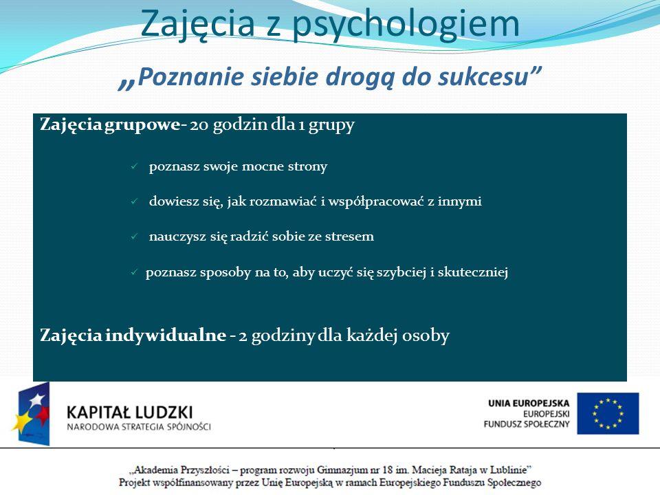 """Zajęcia z psychologiem """"Poznanie siebie drogą do sukcesu"""
