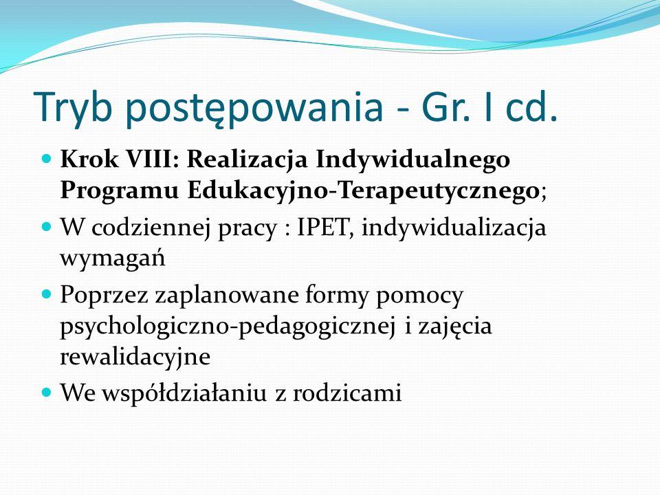Tryb postępowania - Gr. I cd.