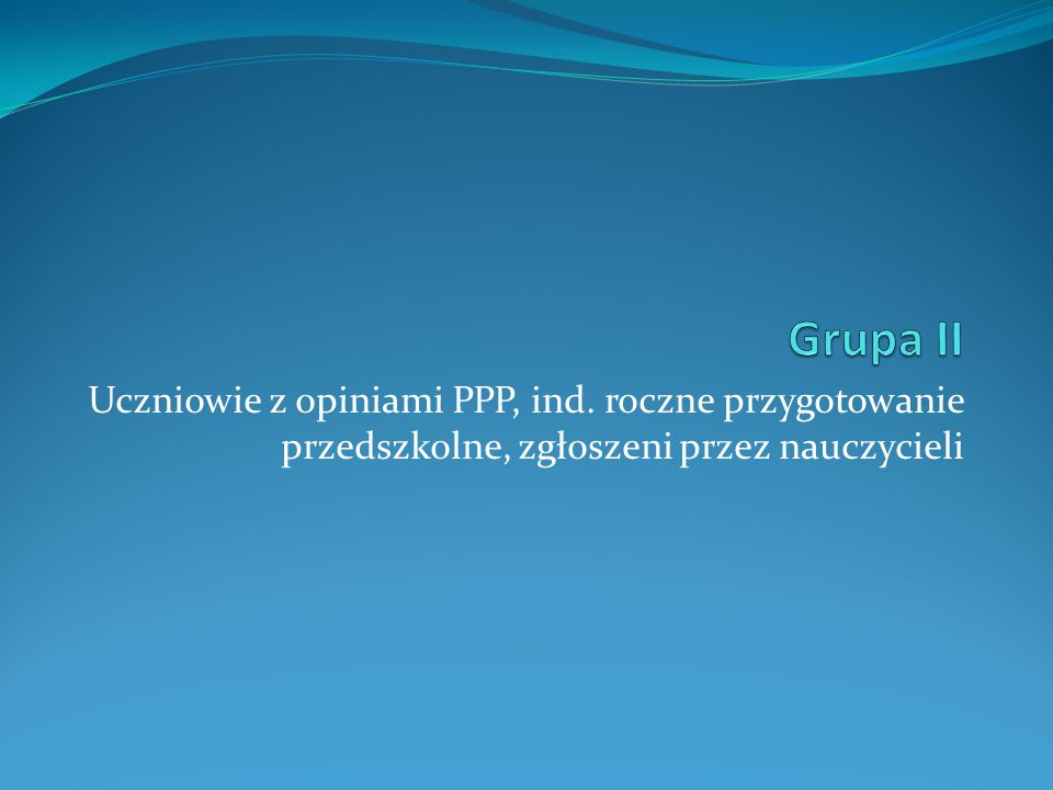 Grupa II Uczniowie z opiniami PPP, ind.