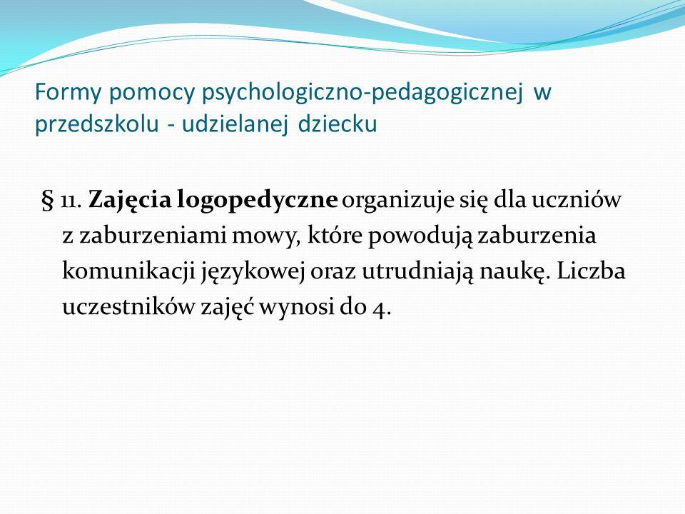Formy pomocy psychologiczno-pedagogicznej w przedszkolu - udzielanej dziecku