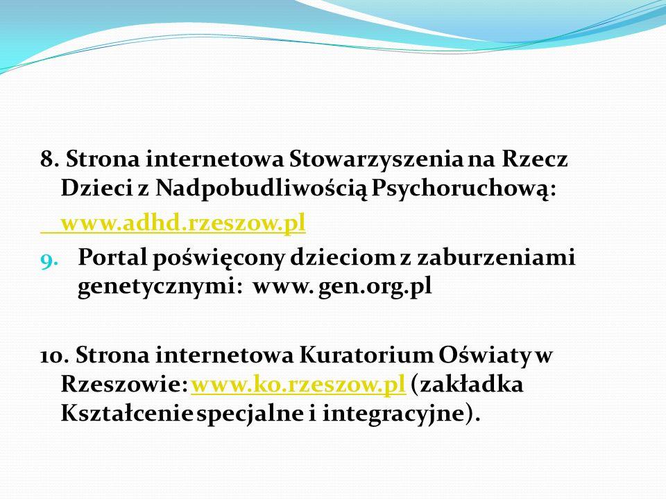 8. Strona internetowa Stowarzyszenia na Rzecz Dzieci z Nadpobudliwością Psychoruchową: