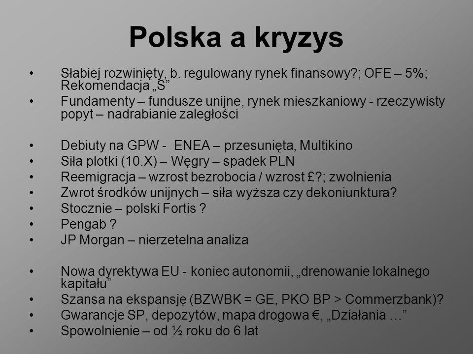 """Polska a kryzys Słabiej rozwinięty, b. regulowany rynek finansowy ; OFE – 5%; Rekomendacja """"S"""