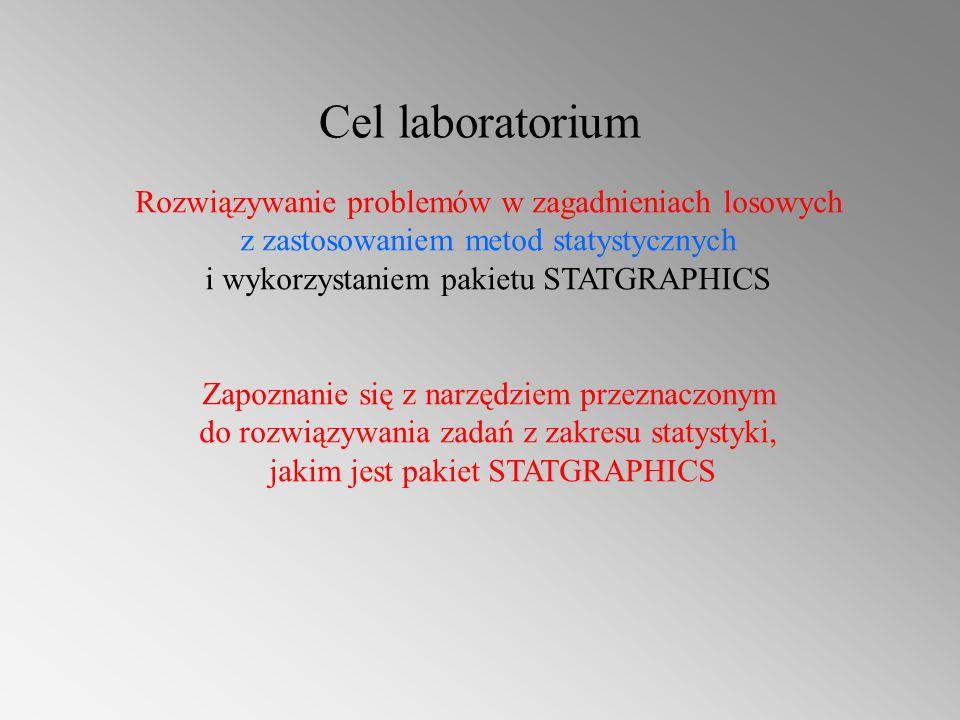 Cel laboratorium Rozwiązywanie problemów w zagadnieniach losowych z zastosowaniem metod statystycznych i wykorzystaniem pakietu STATGRAPHICS.