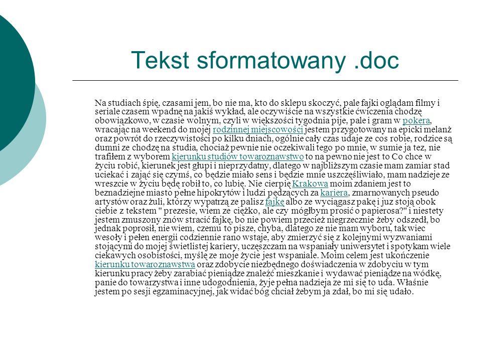 Tekst sformatowany .doc
