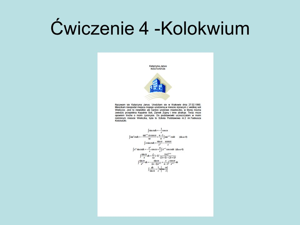 Ćwiczenie 4 -Kolokwium