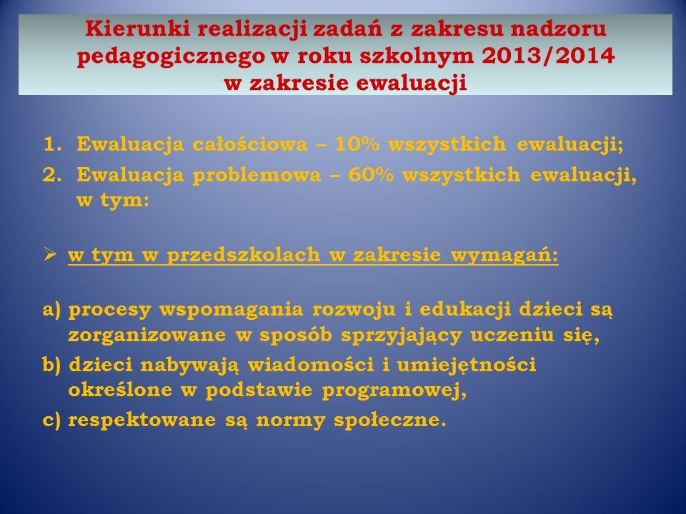 Kierunki realizacji zadań z zakresu nadzoru pedagogicznego w roku szkolnym 2013/2014 w zakresie ewaluacji