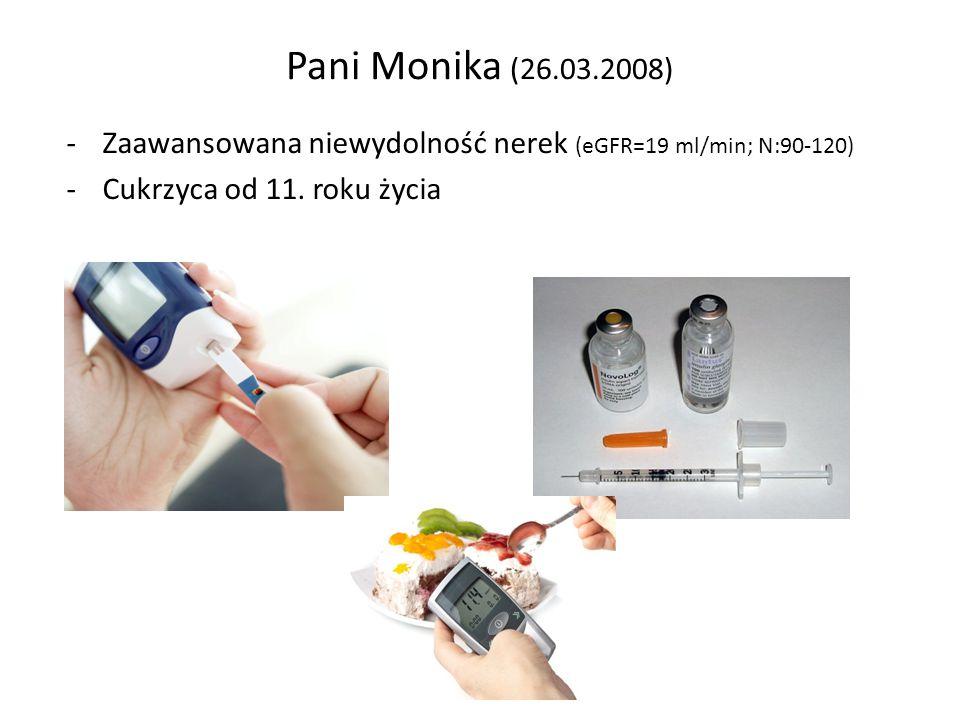 Pani Monika (26.03.2008) Zaawansowana niewydolność nerek (eGFR=19 ml/min; N:90-120) Cukrzyca od 11.
