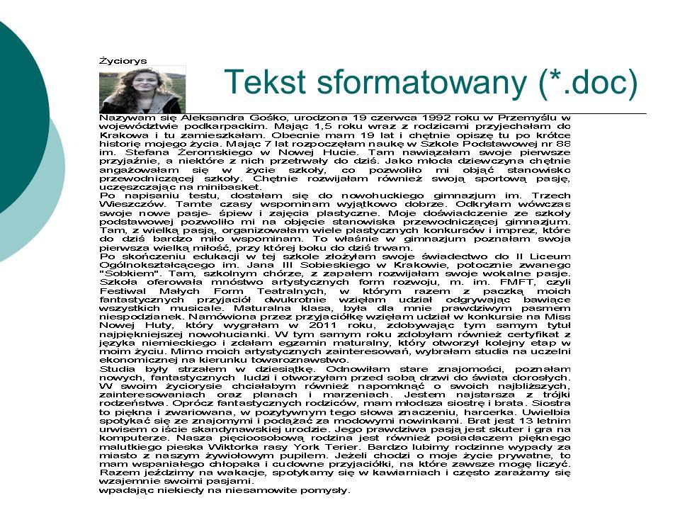 Tekst sformatowany (*.doc)