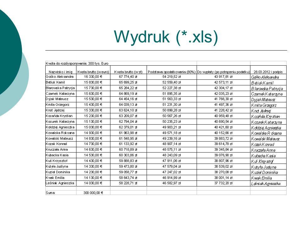 Wydruk (*.xls)