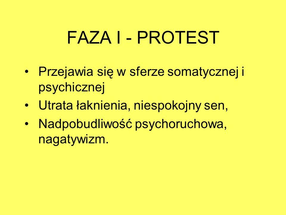 FAZA I - PROTEST Przejawia się w sferze somatycznej i psychicznej